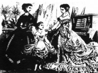 Women and child wearing corsets - from The Englishwomans Domestic Magazine 1866