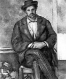 A portrait of Paul Cezanne exhibiting an example of closed posture. (He was a nineteenth century artist).