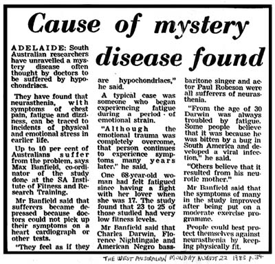 West Australian news item about chronic fatigue and exercise from August 22nd 1983